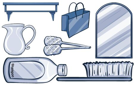 Isolated household items in blue illustration