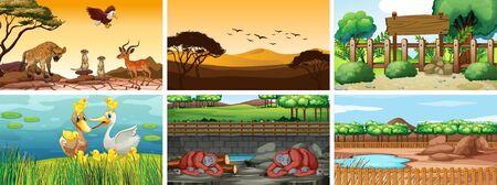 Six scenes with wild animals illustration