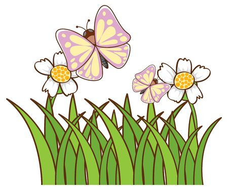 Butterflies in garden on white background illustration