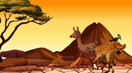 Scene with many animals in dry land illustration