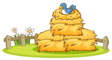 Isolated picture of bird in the nest illustration