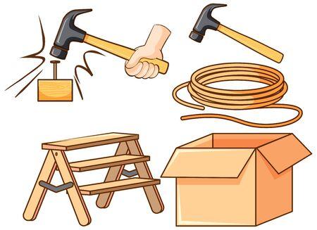 Isolated set of tools on white background illustration