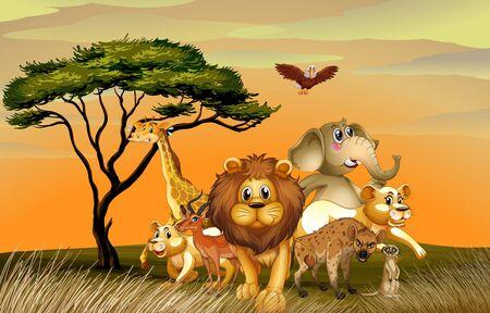 Many wild animals in savanna field illustration