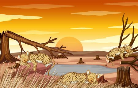 Pollution control scene with tigers and drought illustration