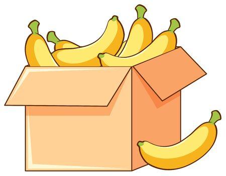 Box of bananas on white background illustration