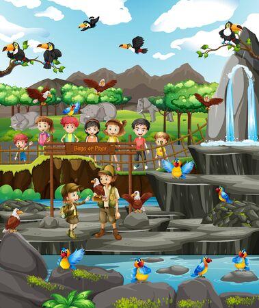 Scene with animals and many kids at the zoo illustration Ilustração