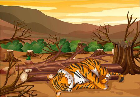 Scene with tiger and deforestation illustration Standard-Bild - 136455681
