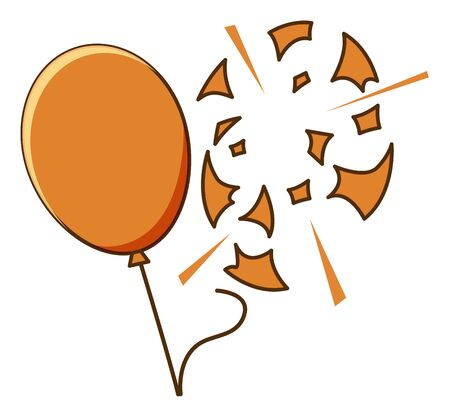 Orange balloon popped on white background illustration Archivio Fotografico - 136435835