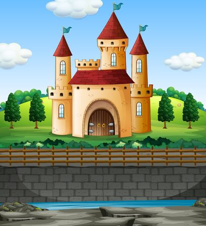 Scene with castle in on the wall illustration
