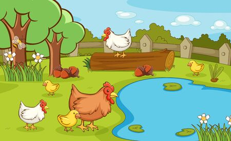 Scene with chickens in the park illustration Vetores