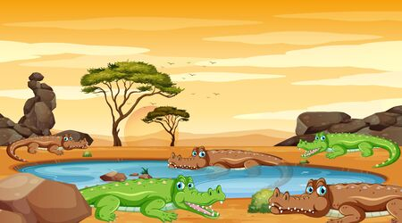 Scene with crocodiles in the pond illustration
