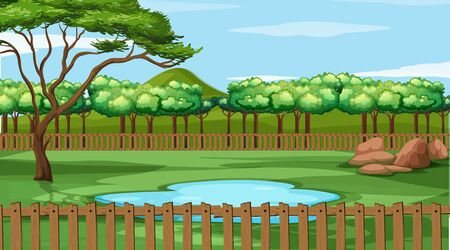 Background scene with trees in the park illustration