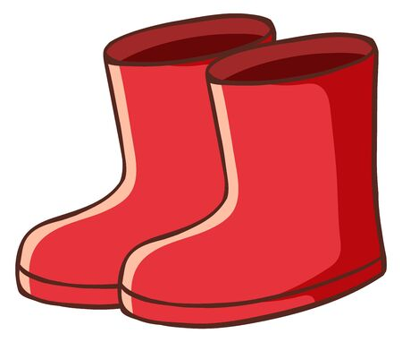 Pair of red boots on white background illustration