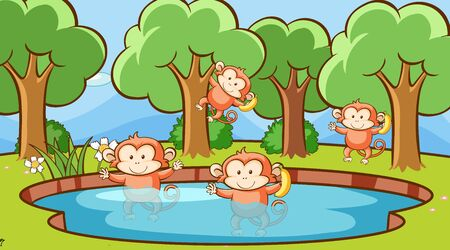 Scene with monkeys in the forest illustration