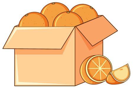 Box of oranges on white background illustration