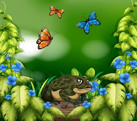 Background scene with frog and butterflies illustration