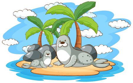 Two seals on the island illustration