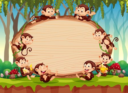 Border template design with cute monkeys in forest illustration