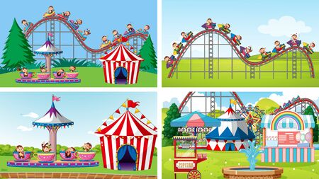 Four scenes with many rides in the fun fair illustration 向量圖像