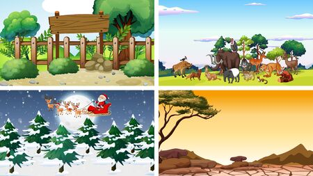 Four scenes with animals and parks illustration