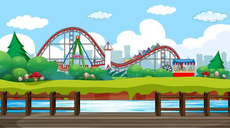 Scene with roller coaster and viking ship in the fun park illustration Illustration