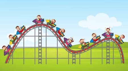 Scene with happy monkeys riding on roller coaster in the park illustration 版權商用圖片 - 137862323