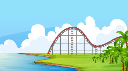 Scene with empty roller coaster track in the field illustration Illustration