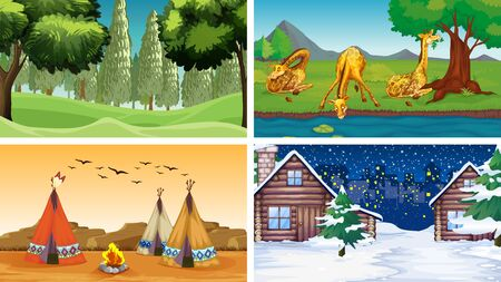 Four scenes of nature with house and trees illustration