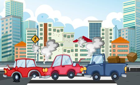 Accident scene with car crash in city illustration