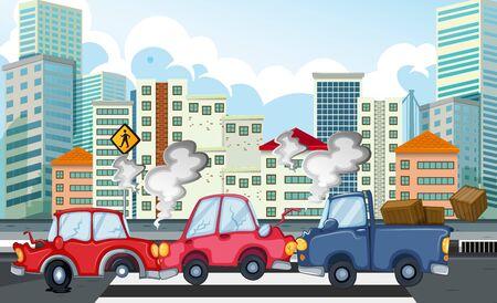 Accident scene with car crash in city illustration