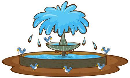 Oiseaux et fontaine sur fond blanc illustration