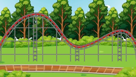 Scene with empty roller coaster track in the park illustration