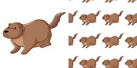 Seamless background design with guinea pig illustration