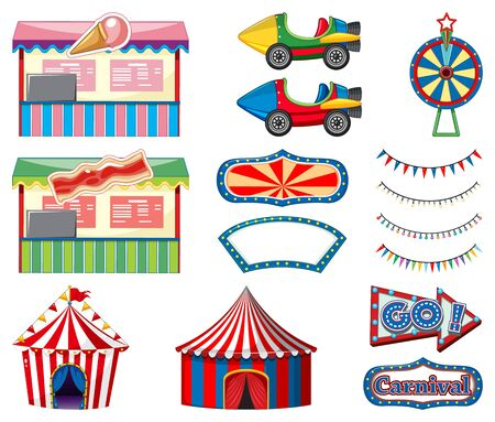 Set of circus rides and game booth on white background illustration
