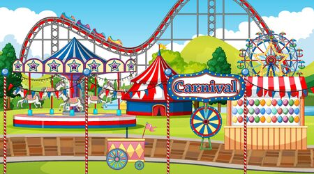 Scene with roller coaster and carousel in the fun park illustration