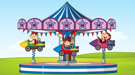 Scene with happy monkeys riding on rocket ride in the park illustration