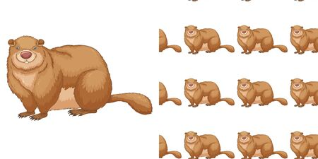 Seamless background design with fat beaver illustration