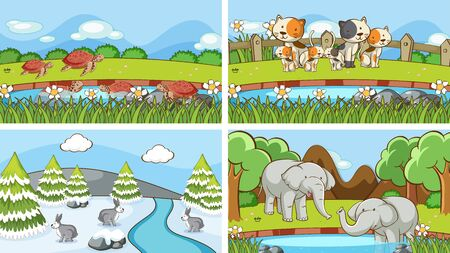 Background scenes of animals in the wild illustration 向量圖像