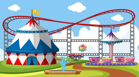 Scene with roller coaster and big circus tent in the park illustration