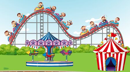 Scene with monkeys riding roller coaster in the park illustration 向量圖像
