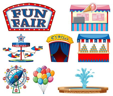 Set of circus items on white background illustration Vectores