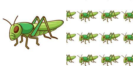 Seamless background design with grasshopper illustration  イラスト・ベクター素材