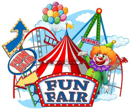 Fun fair sign and circus rides in background illustration Illustration
