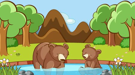 Scene with two bears in the forest illustration Illustration