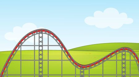 Background scene with empty roller coaster track in the park illustration