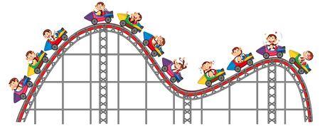 Happy monkeys riding on roller coaster  illustration