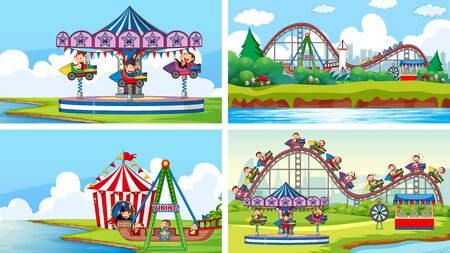 Four scenes with many rides in the fun fair illustration Illustration