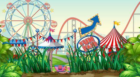 Scene with roller coaster and ferris wheel in the park illustration Vektoros illusztráció