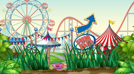Scene with roller coaster and ferris wheel in the park illustration