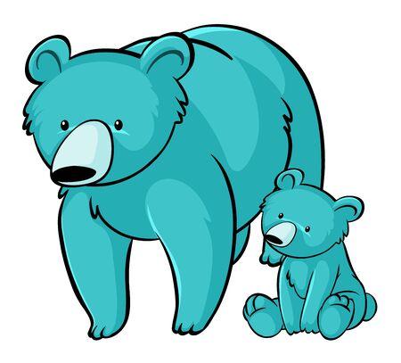 Blue grizzly bears on white background illustration Illustration